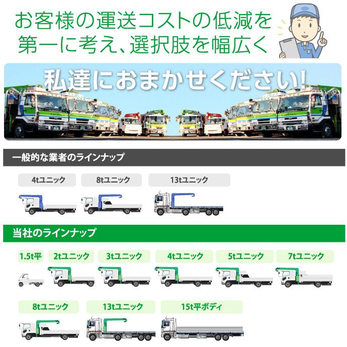 お客様の運送コストの低減を第一に考え、選択肢を幅広く